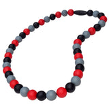 Munchables Lava Chew Necklace features red, black and gray beads and a black breakaway clasp.