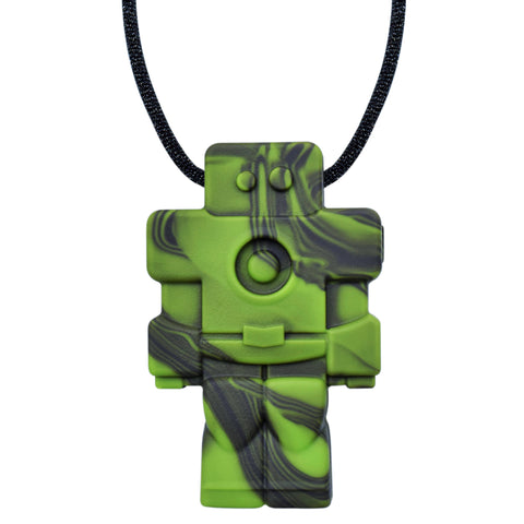 Munchables Robot Chew Necklace in green camo strung on a black cord.