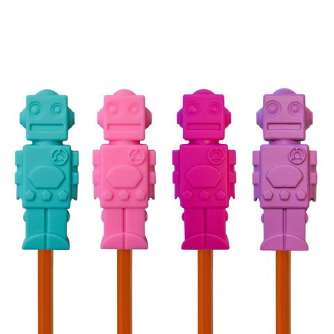 Munchables Robot Chewable Pencil Toppers in a set of 4 in aqua, pink, fuchsia and purple.