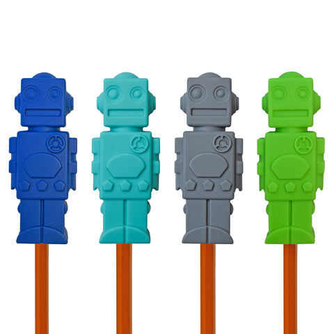 Munchables Robot Chewable Pencil Toppers in a set of 4 in navy, aqua, gray and green.