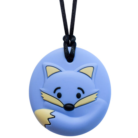 Munchables Round Fox Sensory Chew Necklace in Blue