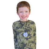 Munchables Round Fox Sensory Chew Necklace in Purple Worn by Boy.