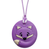 Munchables Round Fox Sensory Chew Necklace in Purple