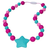 Munchables Starlight Chew Necklaces feature fuchsia, aqua and pink beads in two sizes and a large aqua star.