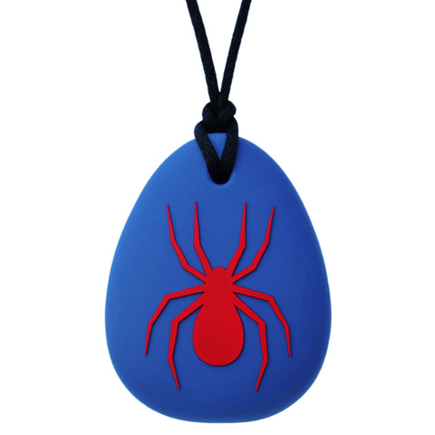 Munchables Spider Chew Necklace with Red Spider and Navy Blue Background.