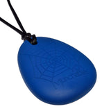 The Munchables Spider Sensory Chew Necklace features a raised web design on the reverse side for added sensory stimulation.