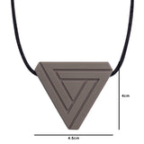 This teen or adult chew necklace in the shape of triangle measures 4cm high by 4.5cm wide.
