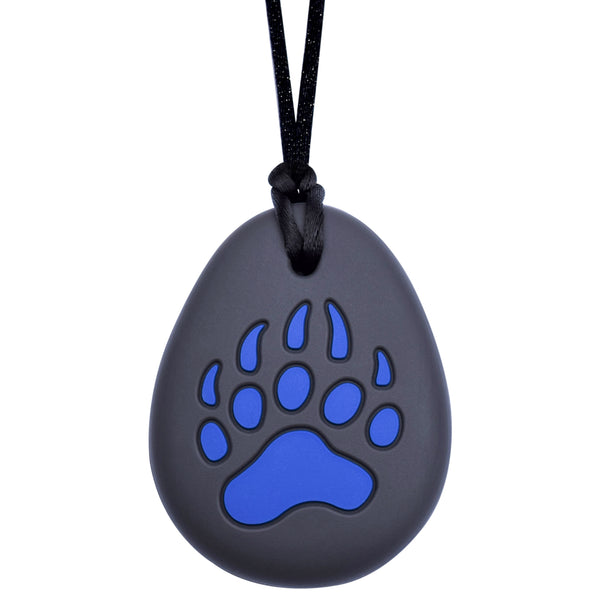 Munchables Bear Paw Chew Necklace features a red bear paw on a black background.