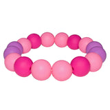 Munchables Chew Bracelet in Pink, Fuchsia and Purple.