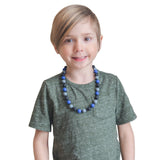 Munchables Camo Sensory Chew Necklace worn by boy.