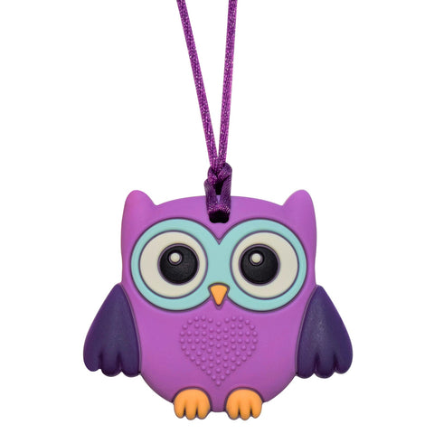 Munchables Baby Owl Sensory Chew Necklace in purple.