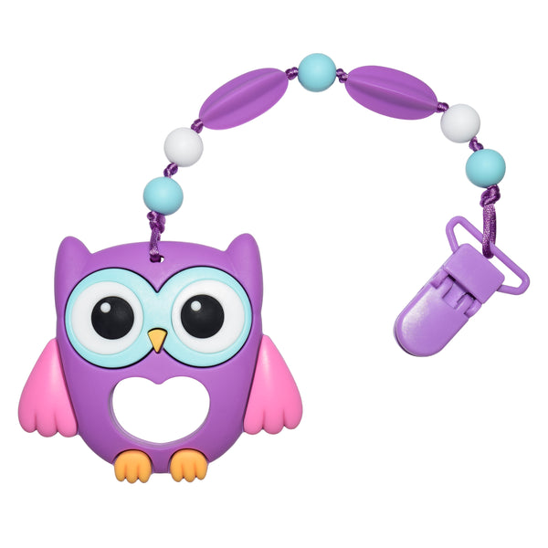 Munchables Baby Teether - Purple Owl with Beads - Snaps onto any fabric.