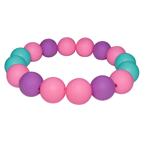Munchables Chew Bracelet in Pink, Aqua and Purple.