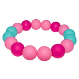 Munchables Chew Bracelet in Pink, Aqua and Fuchsia.