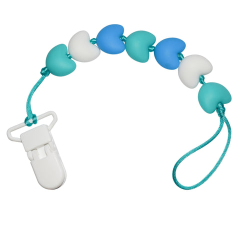 Heart Pacifier Clip - White/Blue/Aqua