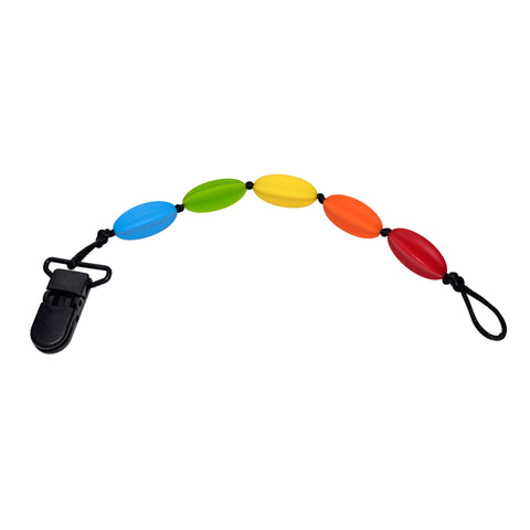 CLEARANCE - Rainbow Pacifier Clip with Long Beads