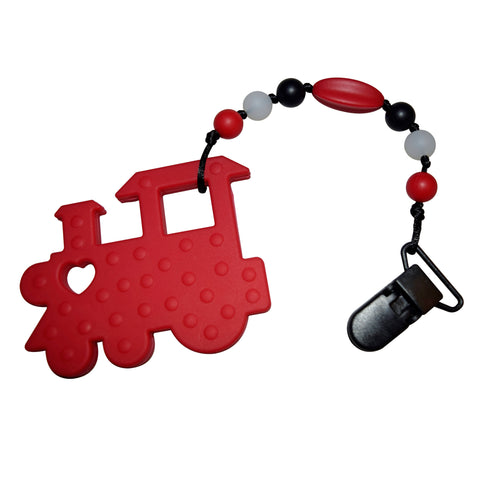 Munchables Red Train Baby Silicone Teether