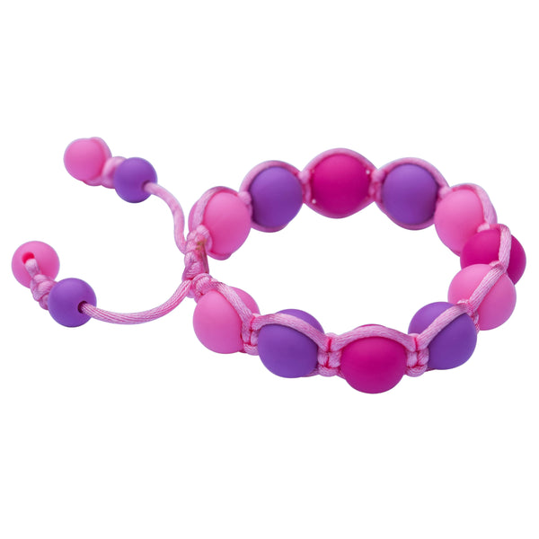 Munchables Pink/Purple/Fuchsia Camo Adjustable Chew Bracelet Strung on a Nylon Cord with Silicone Beads. Chewelry for boys or girls. Measurements 4.5cm inner diameter at smallest size.