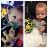 Baby Enjoying Munchables Pacifier Clips for Teething