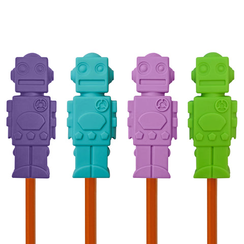 Robot Pencil Toppers (Set of 4 - Purples)
