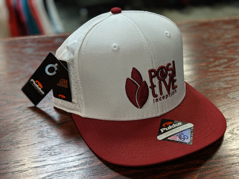 White and Burgundy Positive Inception Performance Snap Back Hat