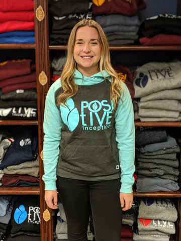 Women's Dark Heather and Teal Hoodie