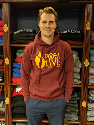 Burgundy Positive Inception Hoodie with Athletic Yellow Gold logo