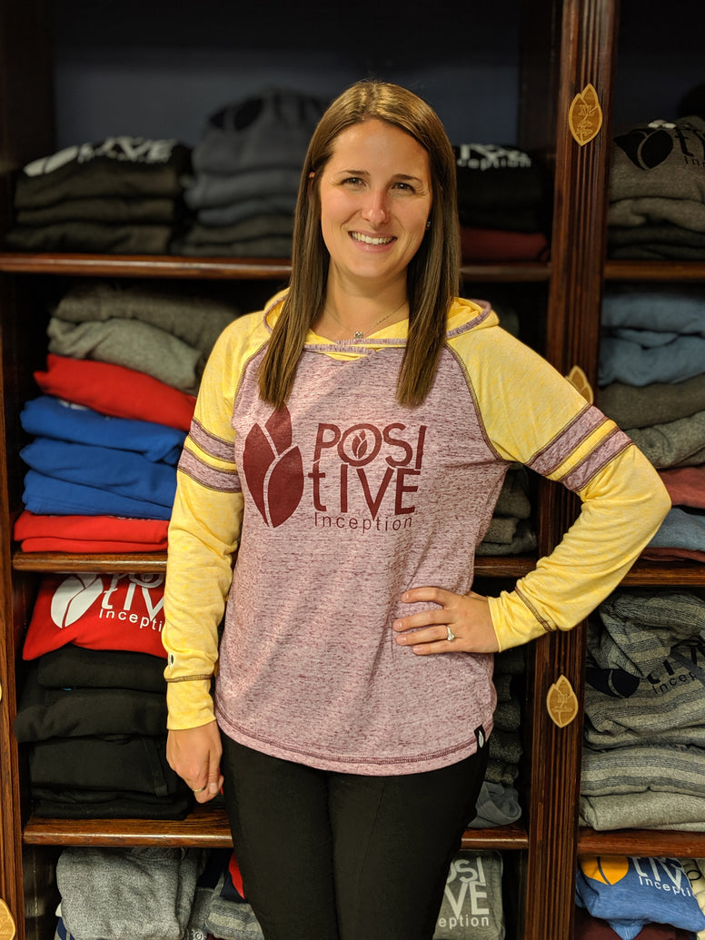 Women's Positive Inception Burgundy and Gold Long Sleeve Hoodie