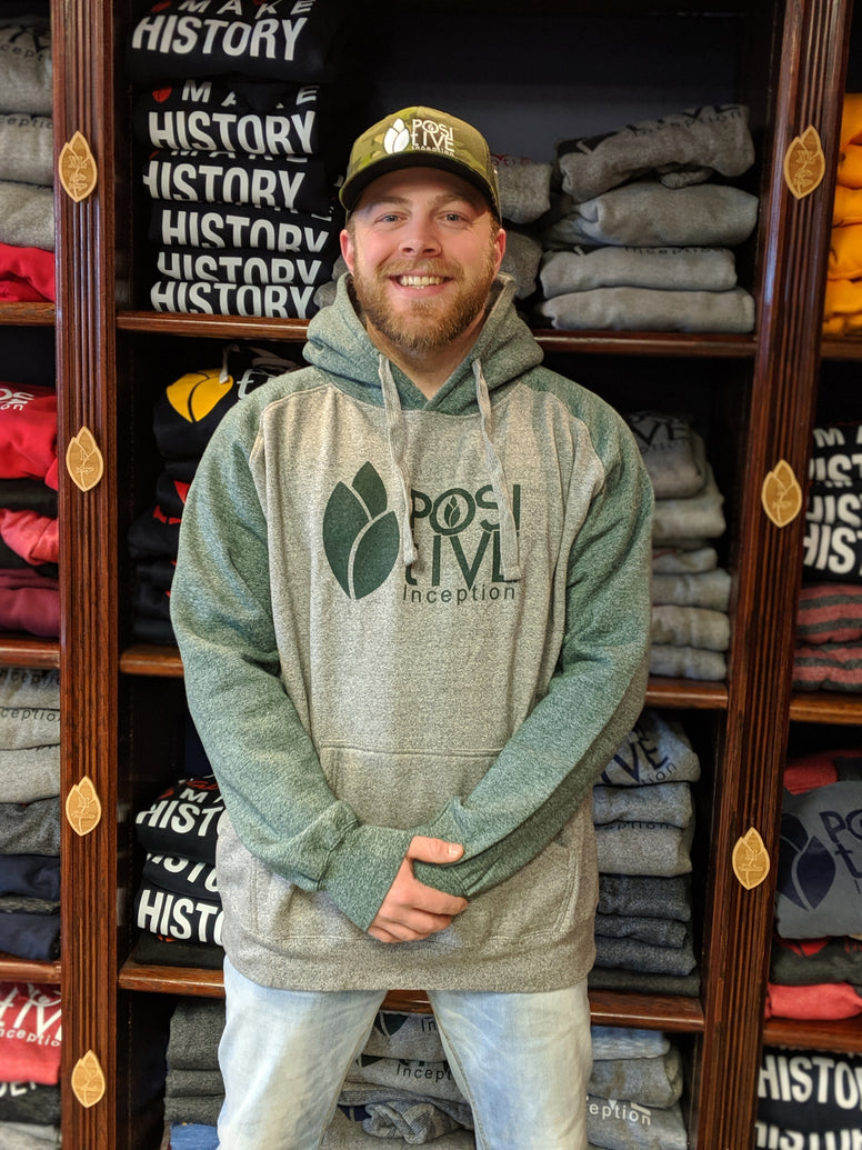 Heavy Weight Varsity Premium Grey and Forest Green Positive Inception Hoodie