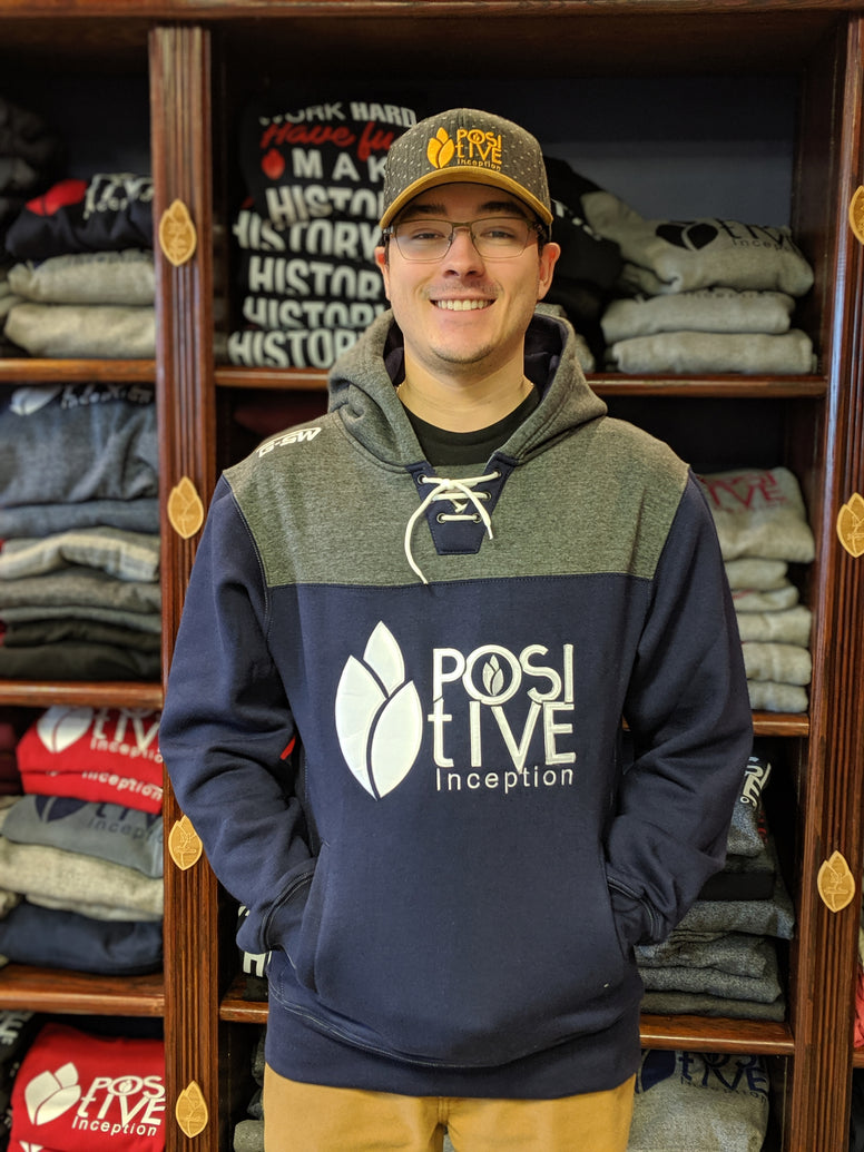 Positive Inception Premium Navy blue and Grey Embroidered Pullover hoodie