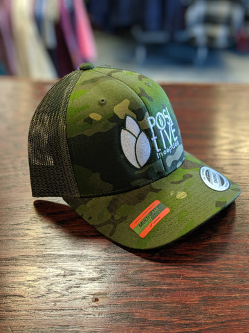 Positive Inception All Green Camo Snapback Trucker hat