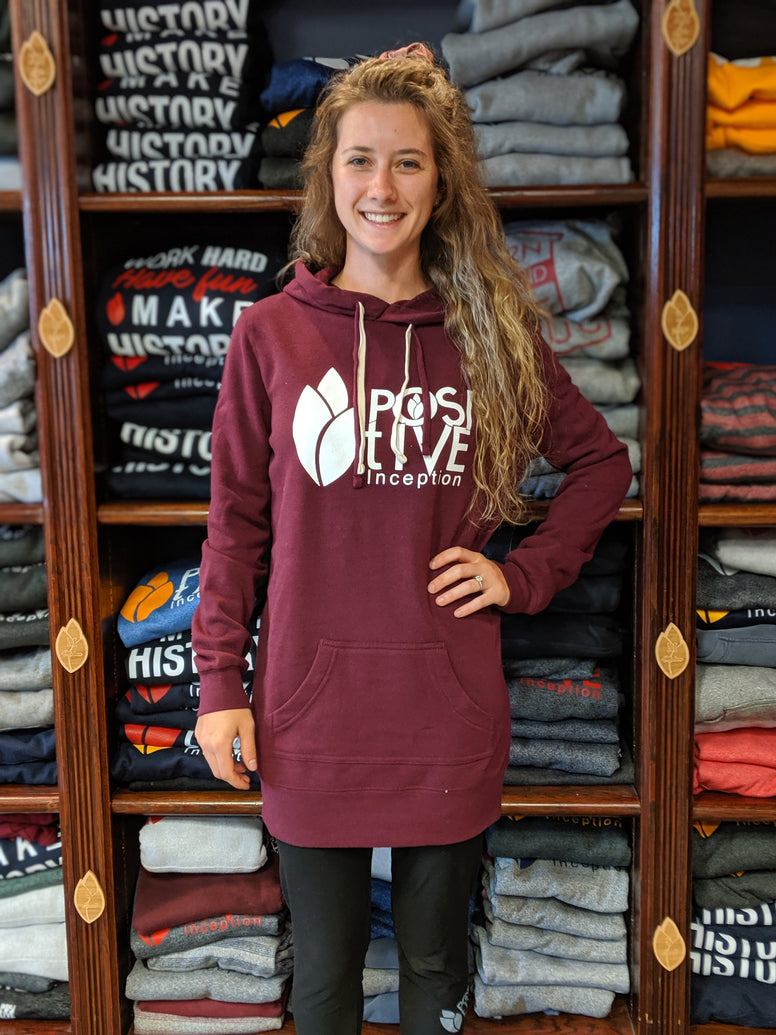 Women's Burgundy and White Hoodie Dress