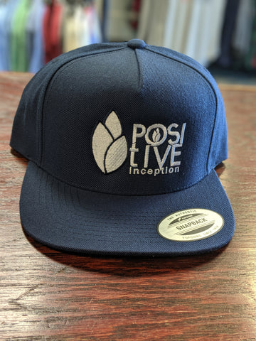 Positive Inception Adult Navy Blue and White Classic Snapback hat
