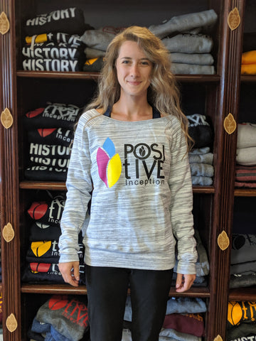 Women's Fleece Wide Neck Light Grey Marble and Multi-Colour Positive Inception Sweatshirt