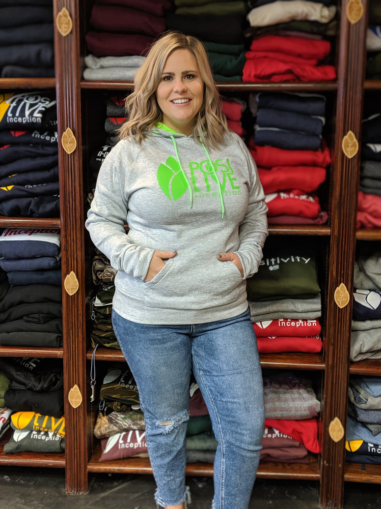 Women's Grey and Neon Green Positive Inception Hoodie