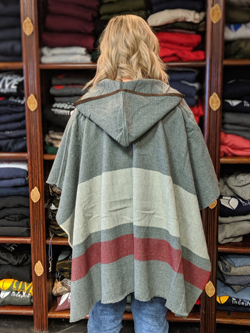 Grey and Burgundy Hooded PI Poncho