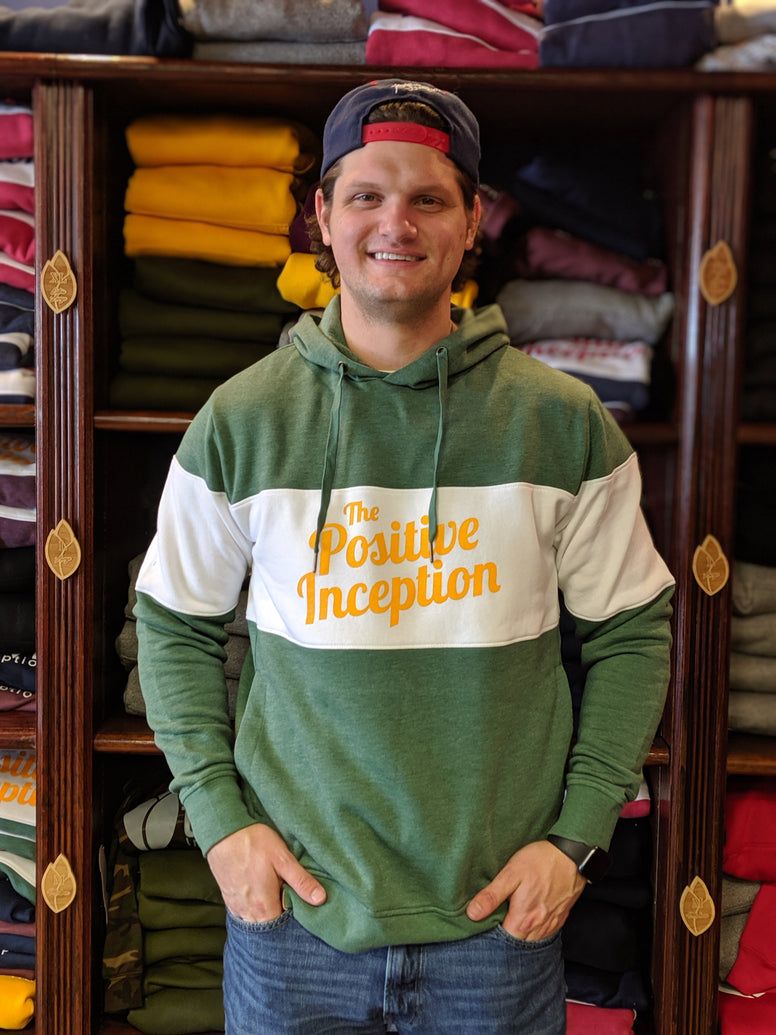 Unisex Positive Inception Varsity Green and Yellow Hoodie