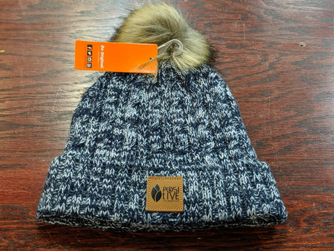 Navy Heather Pom Pom Toque