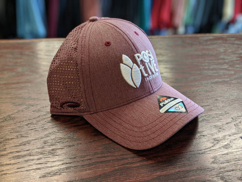 Heather Maroon and White Performance Snap Back Mesh Hat