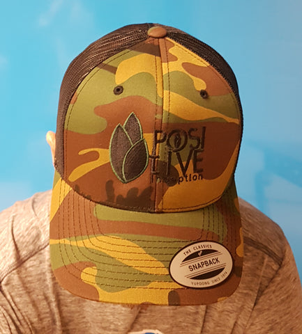Two Tone Camo-Black Positive Inception Trucker Hat