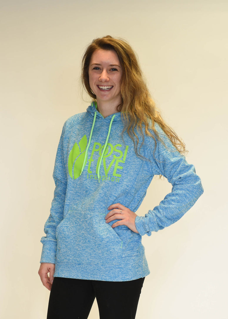 Womens Charcoal Electric Blue and Neon Green Positive Inception Hoodie