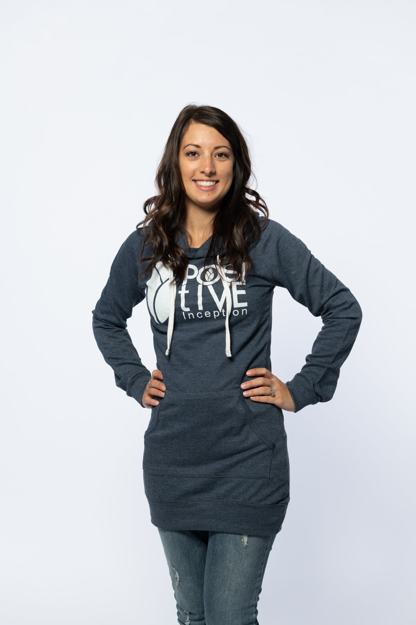 0893bc31cba Heather Blue Womens Hoodie Dress – The Positive Inception