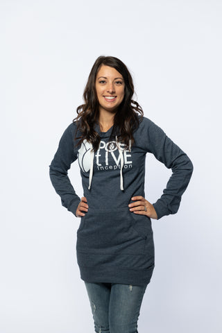 Heather Blue Womens Hoodie Dress