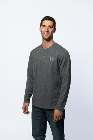 Positive Inception Men's Grey Waffle Henley Long Sleeve