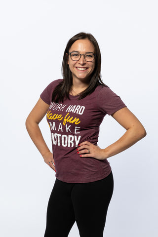 Work Hard, Have Fun, Make History Womens Burgundy T-shirt