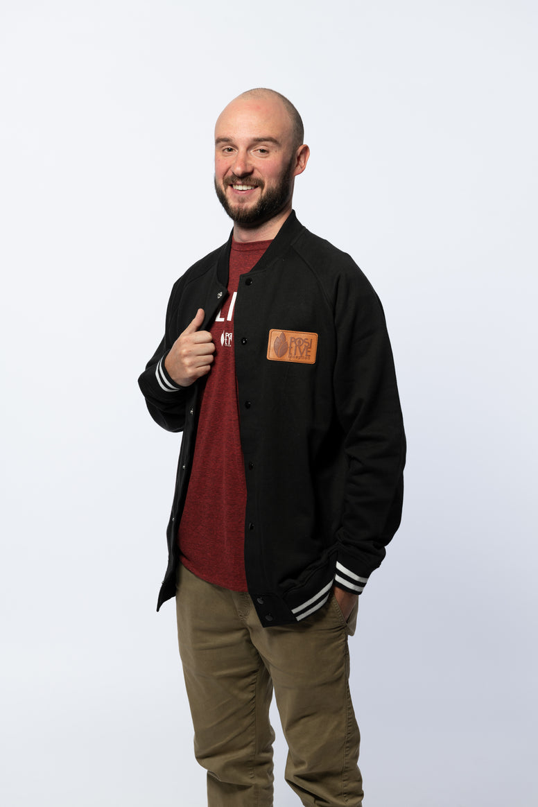 Varsity Black Button up Jacket