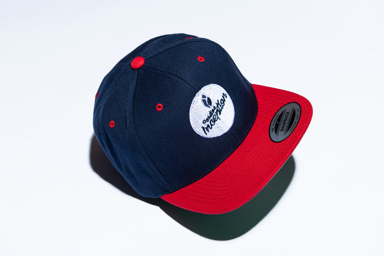Navy Blue and Red Circle logo Positive Inception Snap Back Hat