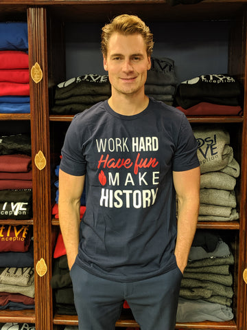 Work Hard, Have Fun, Make History Mens Navy Blue T-shirt