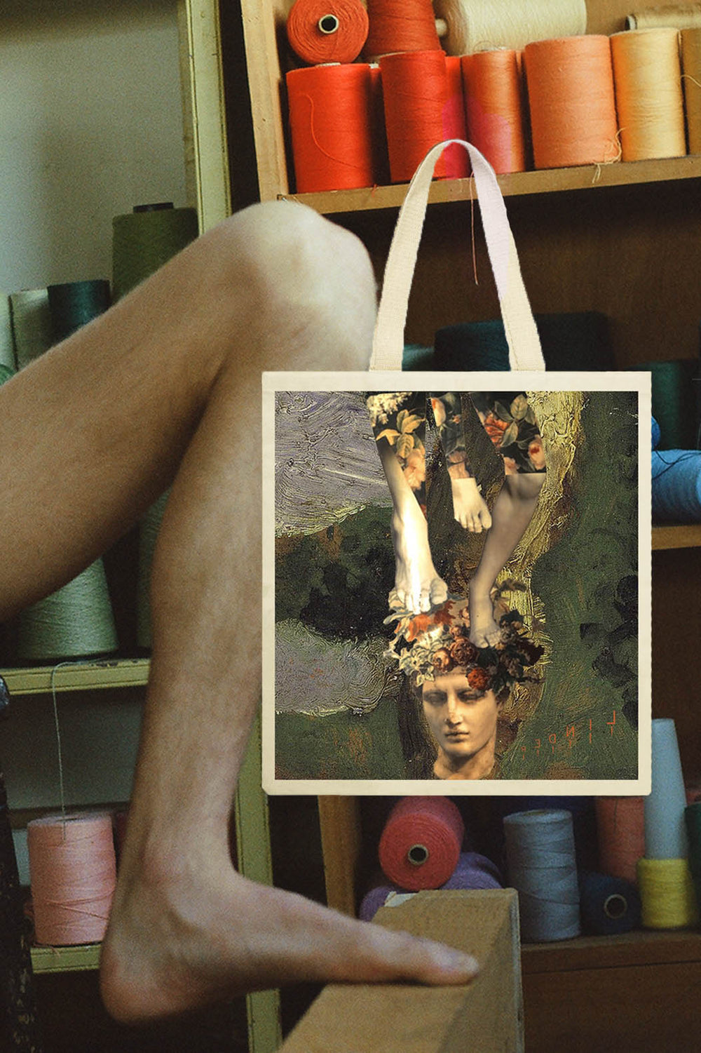 Collage Tote Green