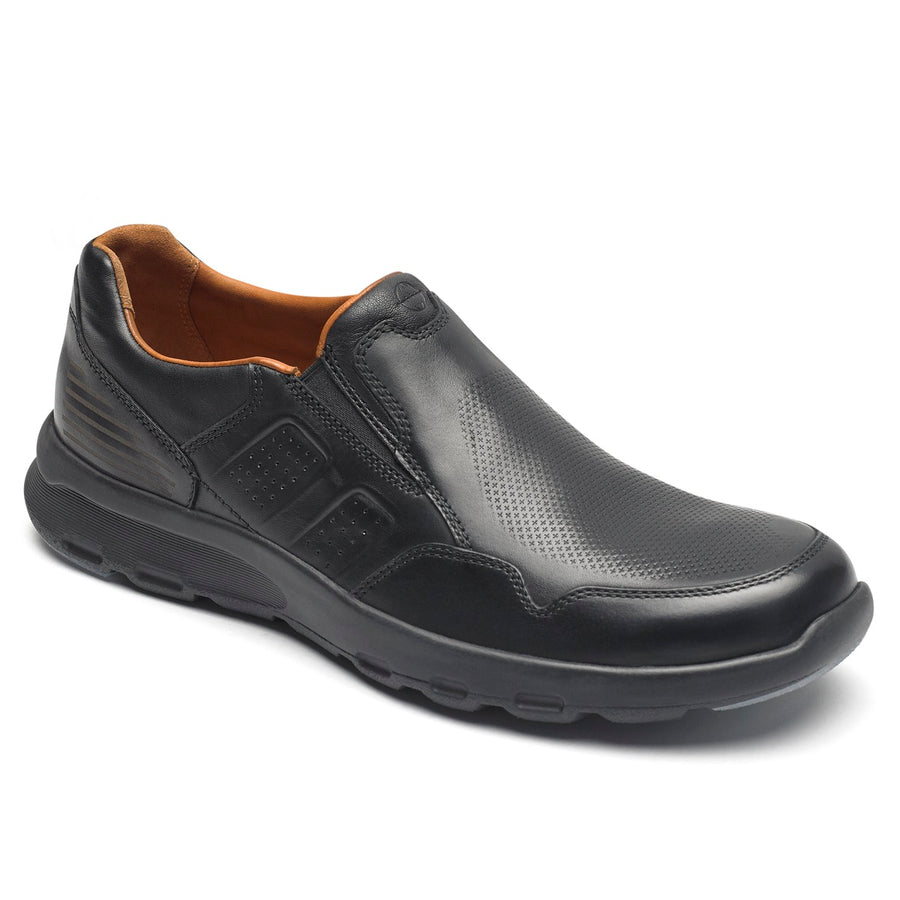 Lets Walk Men's Black/Black Leather Slip On